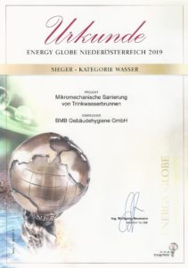 Energy Globe Niederösterreich Mechanische Sanierung Trinkwasserbrunnen